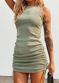 Ribbed Drawstring Side Ruched Mini Dress Green