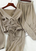 Ribbed Drawstring Top and Pants Loungewear Co Ord Set Beige