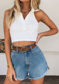 Ribbed Halterneck Backless Collared Racer Crop Top White