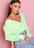 Ribbed knitted Front Button Crop Cardigan Top Green