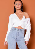Ribbed knitted Front Button Crop Cardigan Top White