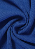 Ribbed Side Cut Out Ruched Drawstring Detailing Mini Dress Blue