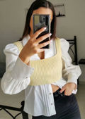 Ribbed Square Neckline Tank Vest Knitted Crop Top Yellow