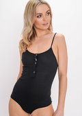 Ribbed Strappy Bodysuit Black