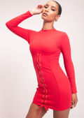 Ribbed Underbust Detailing Lace Up Bodycon Dress Red