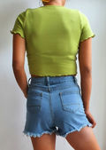 Ribbed V Neck Frill Button Front Crop Top Green