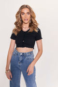 Ribbed V Neck Frill Button Front Crop Top Black