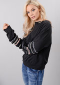 Multi Colour Fringe Embroidered Sleeved Sweatshirt Black