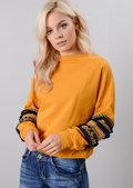 Multi Colour Fringe Embroidered Sleeved Sweatshirt Mustard Yellow
