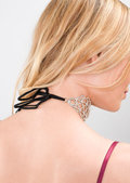 Ribbon Tie Back Diamante Choker Necklace Silver