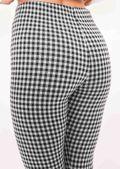 Woven Ring Zip Tartan High Waisted Legging Trousers Black