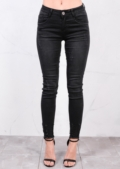 Mid Rise Distressed Skinny Fit Fringe Hem Denim Jeans Charcoal Grey