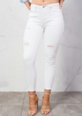 Ripped Skinny Fit Fringe Hem Denim Jeans White