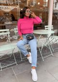 Roll Neck Ribbed Knit Jumper Top Fuchsia Pink