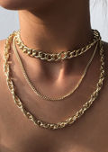 Rope Linked Cable Chained Three Piece Set Necklace Gold
