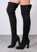 Round Block Heel Knit Stretchy Over The Knee Boots Black