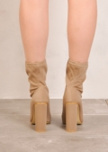 Round Heel Ankle Sock Boots In Lycra Nude