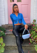 Slinky Ruched Front Button Down Collared Crop Shirt Top Blue