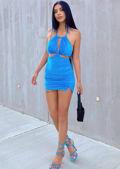 Velvet Halterneck Cut Out Side Split Mini Dress Blue