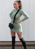 Ruched Side Drawstring Bodycon Mini Dress Green