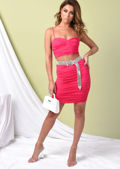Ruched Skinny Straps Slinky Crop Top And Skirt Co Ord Set Hot Pink