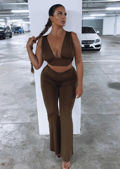Ruched V Neckline Crop Top And Waist Tie Flared Trousers Co-Ord Set Khaki Green