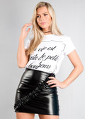 Ruffle Frill Front Leather Look Mini Skirt Black