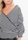 Ruffle Sleeve Stripe Pearl Wrap Front Top White