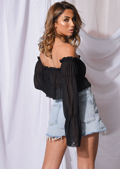 Ruffle Square Neck Cropped Tiered Sleeve Blouse Top Black