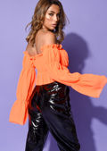 Ruffle Square Neck Cropped Blouse Top Neon Orange