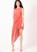 Sammi Asymmetric Halterneck Dress Salmon