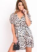 Satin Dalmatian Animal Print Split Side Mini Dress Beige