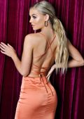 Satin Lace Up Back Slip Midi Dress Orange