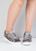 Satin Pearl Embellished Frill Trainers Grey