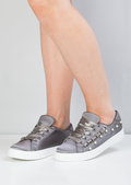 Satin Pearl EmbellishedFrill Trainers Grey