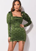 Satin Polka Dots Puff Sleeved Ruched Dress Green