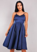Satin Strappy V-Neck Midi Dress Navy Blue