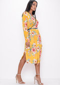 Satin Wrap Over Floral Kimono Dress Mustard Yellow