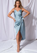 Satin Wrap Over Midi Dress Duck Egg Blue