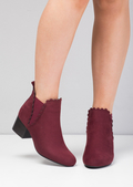 Scallop Trim Faux Suede Ankle Boots Burgundy Red