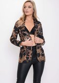 Scarf Animal Print Patterned Blazer Black