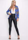 Scarf Animal Print Patterned Blazer Blue
