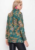 Scarf Animal Print Patterned Blazer Green