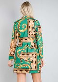 Scarf Print Button Front Blazer Dress Green