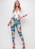Scarf Print Leggings Trousers Green