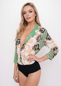 Scarf Print Shirt Bodysuit Green