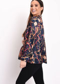 Scarf Print Tie Neck Blouse Navy Blue