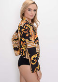 Scarf Print Wrap Bodysuit Multi Black