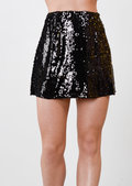 Sequin A-Line Zip Mini Skirt Black