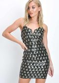 Sequin Cross Back Deco Mini Dress Black